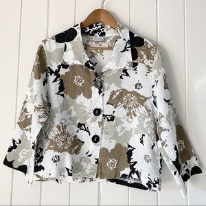 Habitat Shirt Medium Linen Floral Button Front
